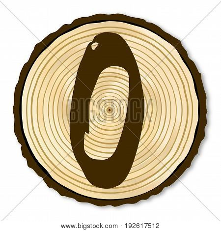 A light wood timber end section with the letter O over a white background