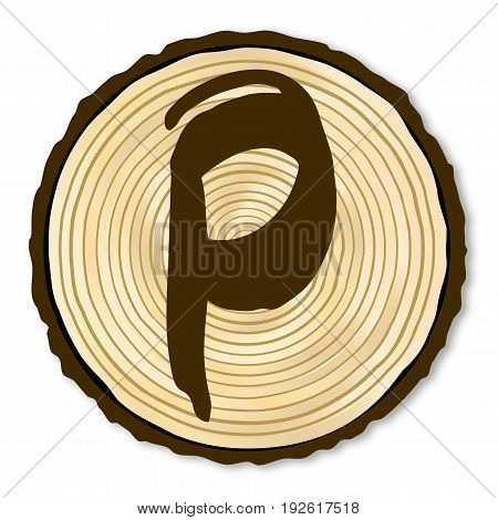 A light wood timber end section with the letter P over a white background