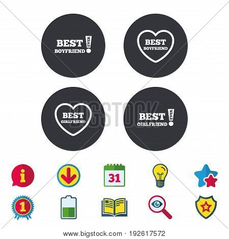 Best boyfriend and girlfriend icons. Heart love signs. Awards with exclamation symbol. Calendar, Information and Download signs. Stars, Award and Book icons. Light bulb, Shield and Search. Vector