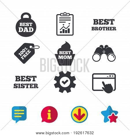 Best mom and dad, brother and sister icons. Weight and cupcake signs. Award symbols. Browser window, Report and Service signs. Binoculars, Information and Download icons. Stars and Chat. Vector