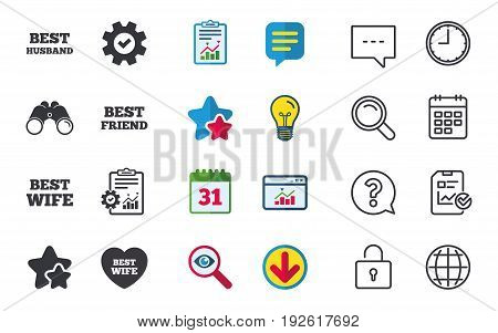 Best wife, husband and friend icons. Heart love signs. Award symbol. Chat, Report and Calendar signs. Stars, Statistics and Download icons. Question, Clock and Globe. Vector
