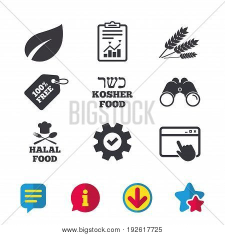 Natural food icons. Halal and Kosher signs. Gluten free. Chief hat with fork and spoon symbol. Browser window, Report and Service signs. Binoculars, Information and Download icons. Stars and Chat