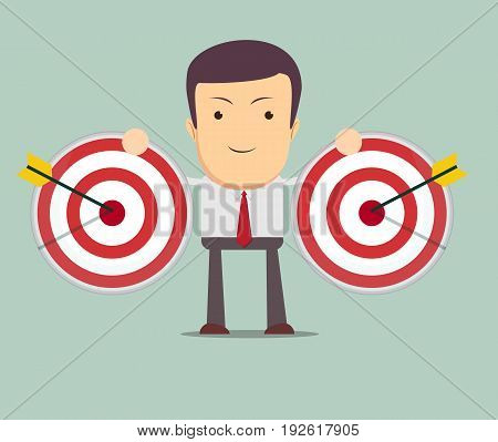 successful businessman aiming target with arrow. Stock vector illustration