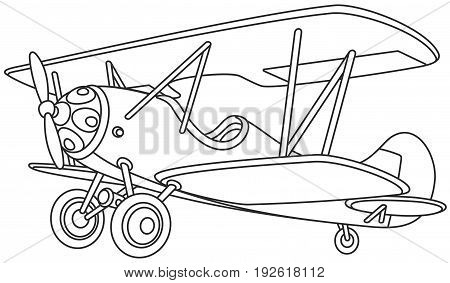 Black and white vector illustration of an toy old airplane