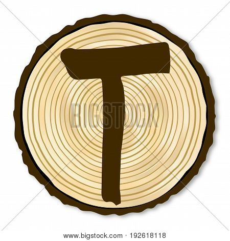 A light wood timber end section with the letter T over a white background