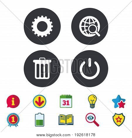 Globe magnifier glass and cogwheel gear icons. Recycle bin delete and power sign symbols. Calendar, Information and Download signs. Stars, Award and Book icons. Light bulb, Shield and Search. Vector