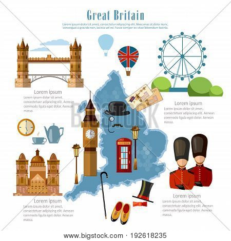 Great Britain infographics. sights culture England traditions map people. Travel to Great Britain template elements