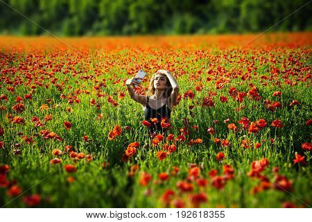 Flower Field Of Red Poppy And Girl Making Phone Selfie