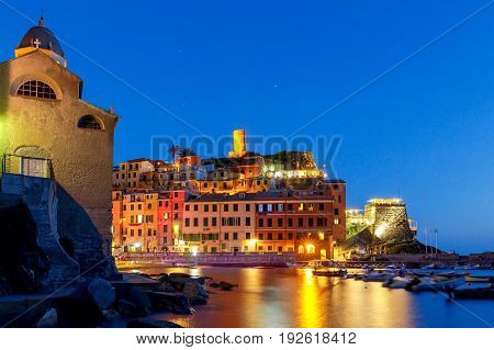 The medieval fishing village with traditional Italian colorful houses Vernazza. Cinque Terre National Park. Liguria. Italy.