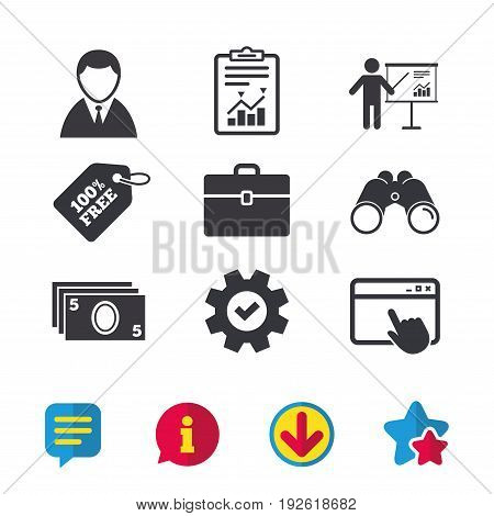 Businessman icons. Human silhouette and cash money signs. Case and presentation with chart symbols. Browser window, Report and Service signs. Binoculars, Information and Download icons. Stars and Chat