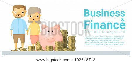 Business and Finance concept background with family saving money , vector , illustration