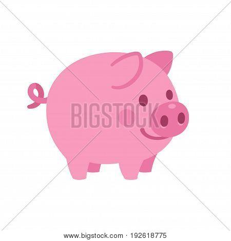 Cute cartoon pig vector illustration. Little smiling pink piglet drawing.