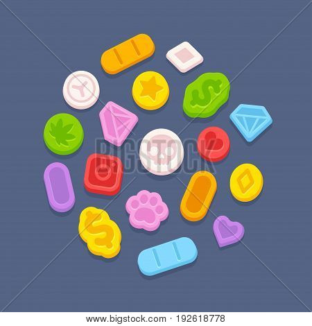Ecstasy MDMA pills. Recreational party drugs concept illegal drug market vector illustration. Substance abuse problem.