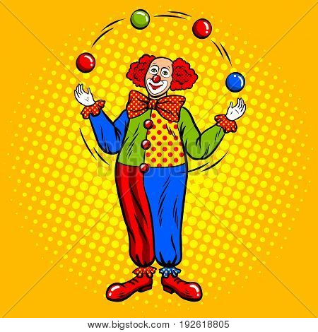 Circus clown juggles with balls pop art retro vector illustration. Comic book style imitation.