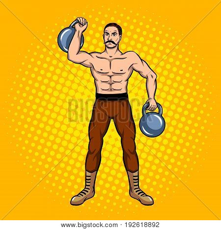 Circus athlete with a dumbbell pop art retro vector illustration. Comic book style imitation.