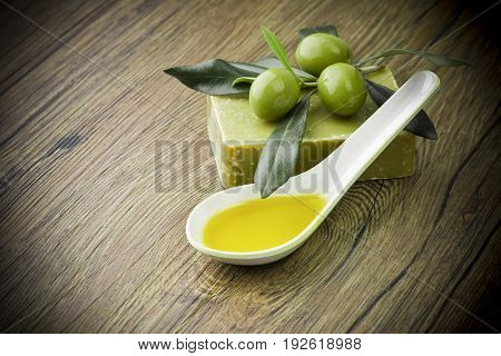 Soap and natural ingredients to olive oil