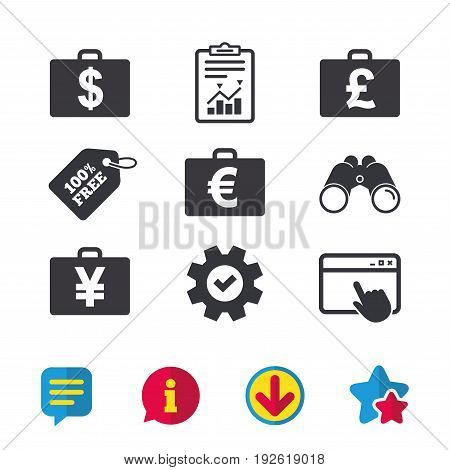 Businessman case icons. Cash money diplomat signs. Dollar, euro and pound symbols. Browser window, Report and Service signs. Binoculars, Information and Download icons. Stars and Chat. Vector
