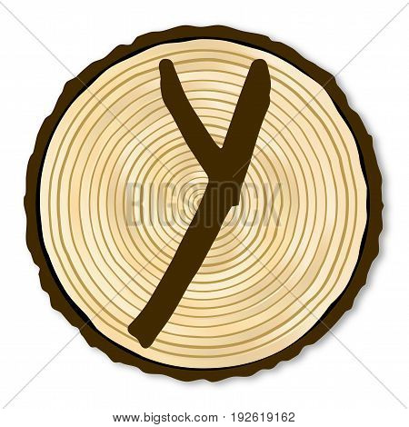 A light wood timber end section with the letter Y over a white background