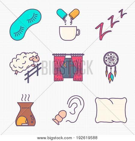 Collection of sleep and insomnia icon isolated