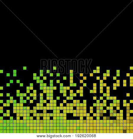 abstract vector square pixel mosaic background - green and yellow on black background
