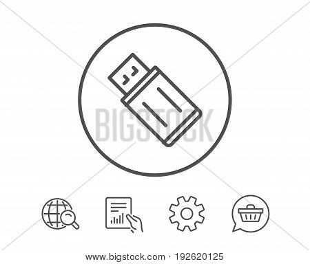 USB flash drive line icon. Memory stick sign. Portable data storage symbol. Hold Report, Service and Global search line signs. Shopping cart icon. Editable stroke. Vector