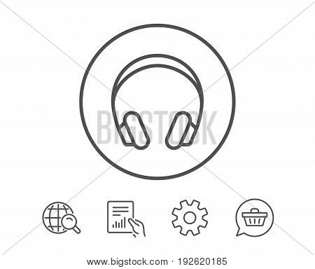 Headphones line icon. Music listening device sign. DJ or Audio symbol. Hold Report, Service and Global search line signs. Shopping cart icon. Editable stroke. Vector