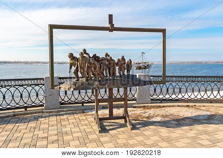 Samara Russia - March 12 2017: Bronze monument of a painting of Ilya Repin's