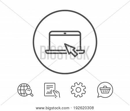 Laptop computer icon. Notebook with mouse cursor sign. Portable personal computer symbol. Hold Report, Service and Global search line signs. Shopping cart icon. Editable stroke. Vector