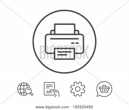 Printer icon. Printout Electronic Device sign. Office equipment symbol. Hold Report, Service and Global search line signs. Shopping cart icon. Editable stroke. Vector