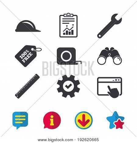 Construction helmet and wrench key tool icons. Ruler and tape measure roulette sign symbols. Browser window, Report and Service signs. Binoculars, Information and Download icons. Stars and Chat