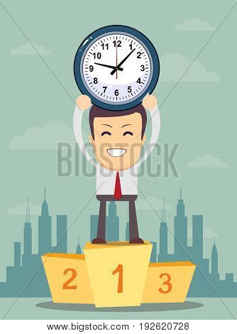 Successful manager or businessman. A man in a suit stand on a pedestal and hold a clock. for use in presentations. time management concept. Vector EPS10.