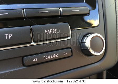 Fragment Of The Audio Control Panel In A Modern Car Closeup