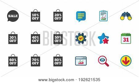 Sale discounts icons. Special offer signs. Shopping bag, price tag symbols. Calendar, Report and Download signs. Stars, Service and Search icons. Statistics, Binoculars and Chat. Vector