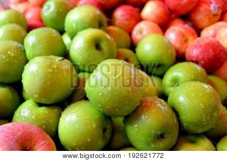 The Import Green And Red Apples In Cheap Street Market