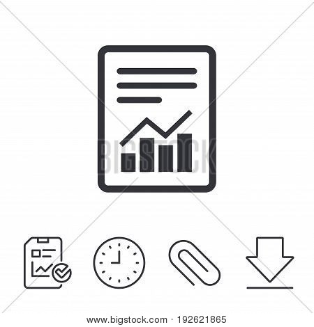 Text file sign icon. Add File document with chart symbol. Accounting symbol. Report, Time and Download line signs. Paper Clip linear icon. Vector
