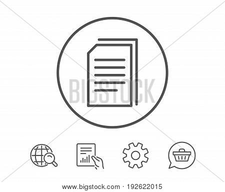 Copy Documents line icon. Copying Files sign. Paper page concept symbol. Hold Report, Service and Global search line signs. Shopping cart icon. Editable stroke. Vector