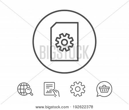 Document Management line icon. Information File with Cogwheel sign. Paper page concept symbol. Hold Report, Service and Global search line signs. Shopping cart icon. Editable stroke. Vector