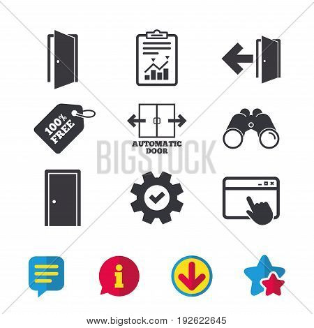 Automatic door icon. Emergency exit with arrow symbols. Fire exit signs. Browser window, Report and Service signs. Binoculars, Information and Download icons. Stars and Chat. Vector
