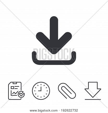 Download icon. Upload button. Load symbol. Report, Time and Download line signs. Paper Clip linear icon. Vector