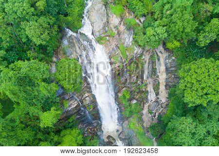 Aerial view of Wachirathan waterfall in rainy season at Doi Inthanon national park Chian Mai Thailand.