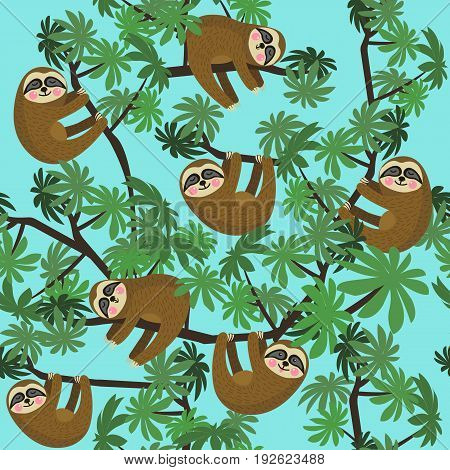 Seamless pattern with cute jungle sloths on blue background, vector illustration
