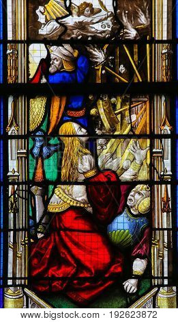 Stained Glass In Rouen Cathedral - St Catherine
