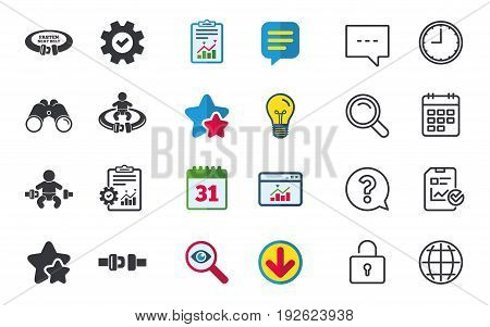 Fasten seat belt icons. Child safety in accident symbols. Vehicle safety belt signs. Chat, Report and Calendar signs. Stars, Statistics and Download icons. Question, Clock and Globe. Vector