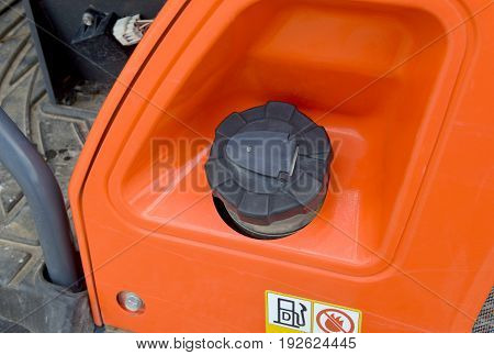 The Gasoline Cover Of Backhoe Loader