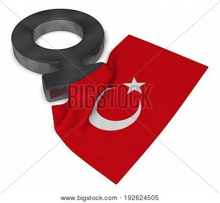 female symbol and flag of turkey - 3d rendering