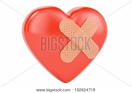 Broken heart with adhesive plaster 3D rendering isolated on white background