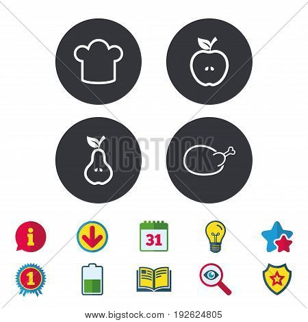 Food icons. Apple and Pear fruits with leaf symbol. Chicken hen bird meat sign. Chef hat icons. Calendar, Information and Download signs. Stars, Award and Book icons. Light bulb, Shield and Search