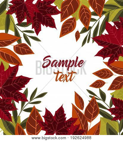 Vector illustration of autumn leaves on white background. Colorful autumn