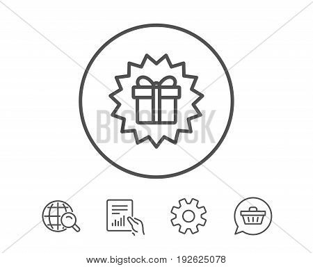 Gift box offer line icon. Present or Sale sign. Birthday Shopping symbol. Package in Gift Wrap. Hold Report, Service and Global search line signs. Shopping cart icon. Editable stroke. Vector