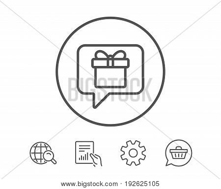 Dreaming of Gift line icon. Present box sign. Birthday Shopping symbol. Package in Gift Wrap. Hold Report, Service and Global search line signs. Shopping cart icon. Editable stroke. Vector